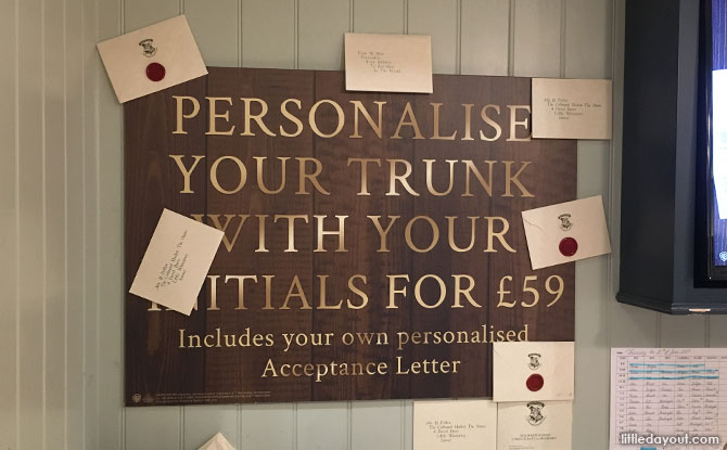 Personalise a trunk at the Harry Potter Shop