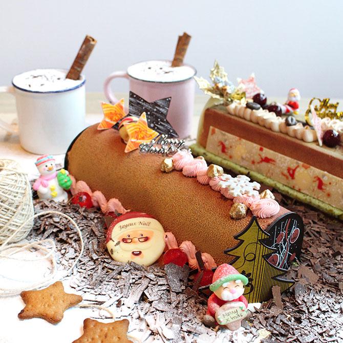 Raspberry Hazelnut Log Cake