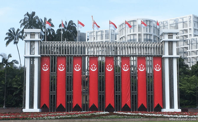 Istana Park's Festival Arch dressed up for National Day