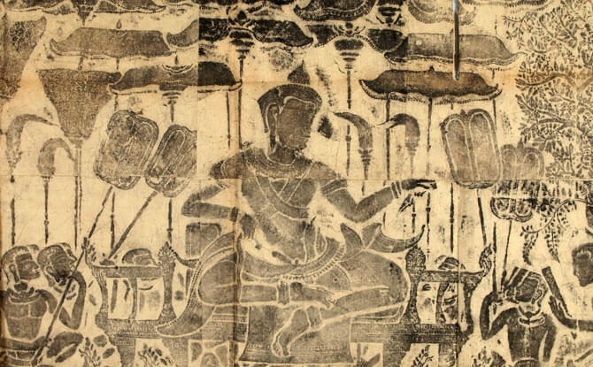 """Rubbing Detail of the """"Royal Procession"""" bas-relief at Angkor Wat. Image courtesy of Musée national des arts asiatiques – Guimet"""