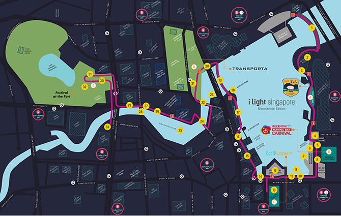 Map of I Light Singapore - Bicentennial Edition Artworks