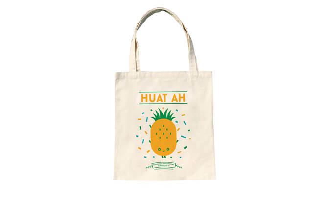Strangely Singaporean Tote - Huat Ah $22, from thelittledromstore.com