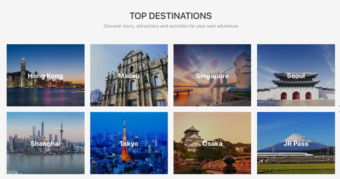 Discover destinations from around the world with Klook