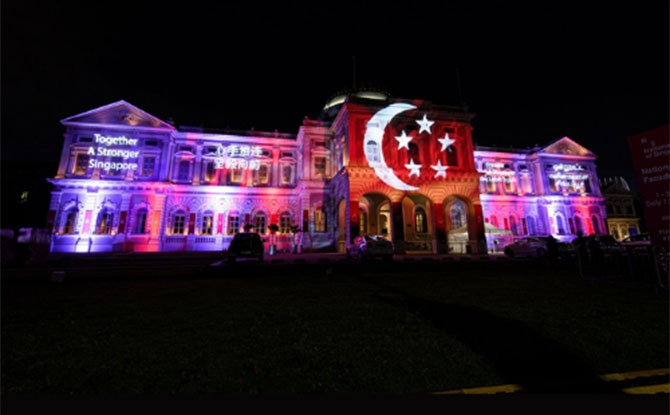 National Museum Of Singapore Lights Up To Celebrate National Day From 1 To 31 Aug 2021