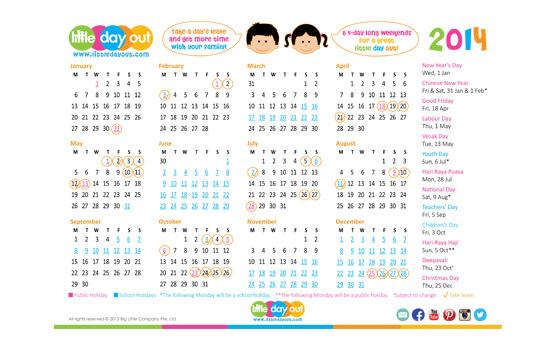 Singapore Public & School Holidays Calendar 2014